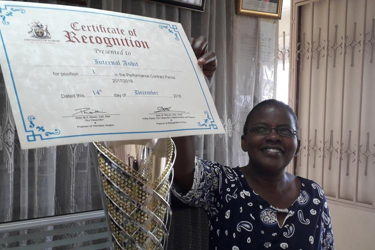 Ms. Ann, the Secretary Internal Audit displays the No. 1 position achieved in year 2018/2019 among Central Admin Departments