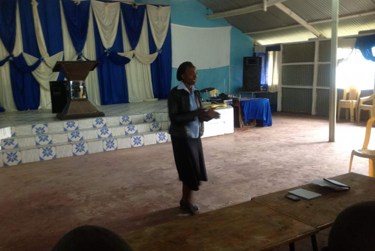 Ms. Aileen Nyatuga giving a vote of thank to the management of the children's home