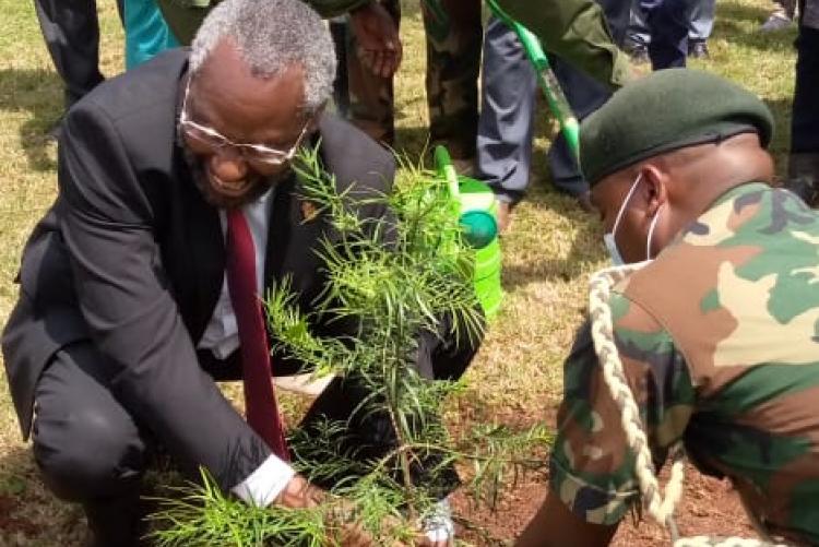 Prof. Kiama plants a tree seedling