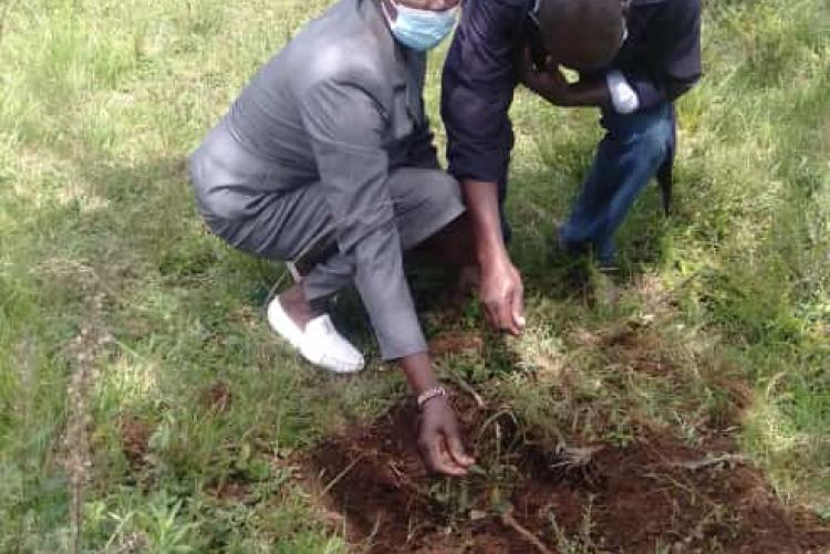 Rachel Nduta planning agree at University of Nairobi Kasarani campus during the tree planting exercise carried on Tuesday 18 May 2021