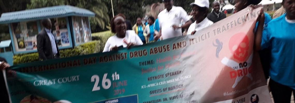 Internal Audit joins the trouping congregation around the campus during International Day Against Drug Abuse (2019)