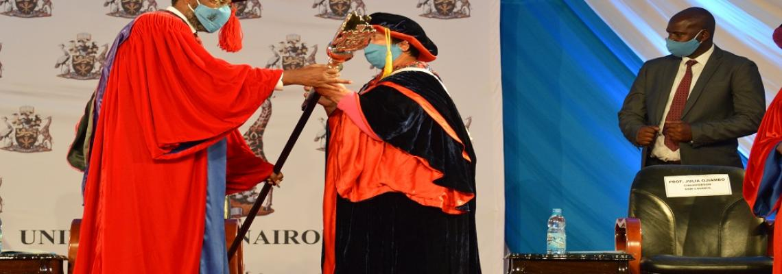 The UoN VC Prof. Stephen Kiama handed the Mantle by the UoN Chancellor Dr. Vijoo Rattansi on 5th June 2020